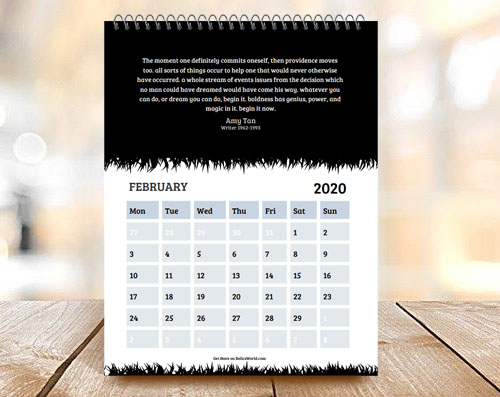 Black & White Grass Edges Month Calendar with Quote