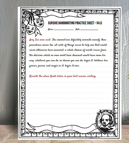 "8.5""x11"" Cursive Writing Practice worksheet with Artistic Shakespeare Border"