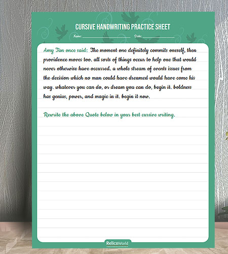 "8.5""x11"" Cursive Writing Practice Worksheet for Kids with Birds Background"