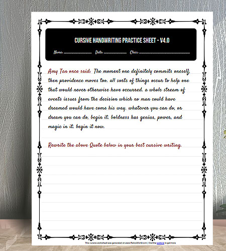 "8.5""x11"" Printable Cursive Writing Practice worksheet with nice floral border"