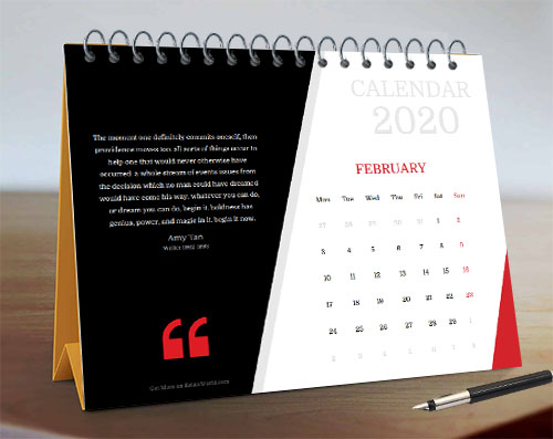 Curve and Corner Style Nice Month Calendar with Quote