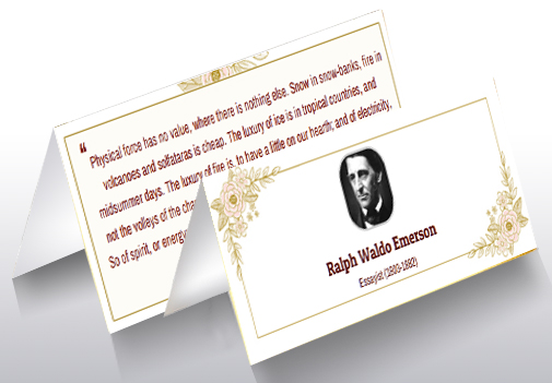 "4""x2"" Folded Card in Elegant Colors and Design with this Quote"