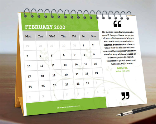 Green & White Month Calendar with Floral Background and Quote on the Right