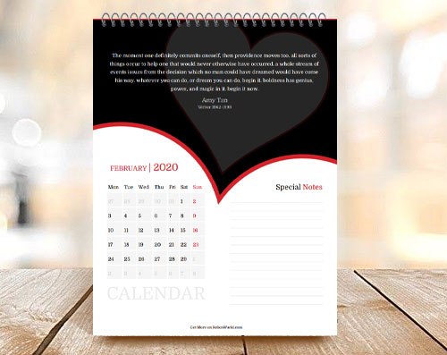Heart Shape Beautiful Month Calendar with Quote on Top