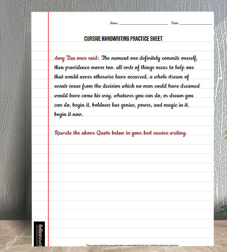 "Letter Size (8.5""x11"") Lined Copy style Cursive Writing Practice Worksheet"