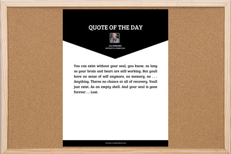 Quote of the Day Bulletin Board Poster with beautiful down arrow header style