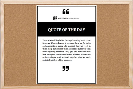 Quote of the Day Bulletin Board Poster with quote icons on top and bottom