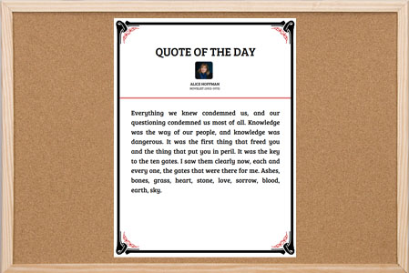 Quote of the Day Bulletin Board Poster with black & red floral border