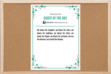 Quote of the Day Bulletin Board Poster with stars corner border and date on top