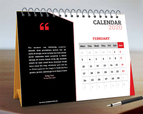 Red & Black Month Quote Calendar in Elegant Design