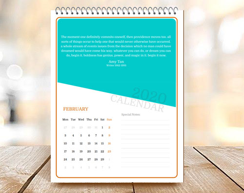Rounded Corners Simple Yet Elegant Month Calendar with Quote
