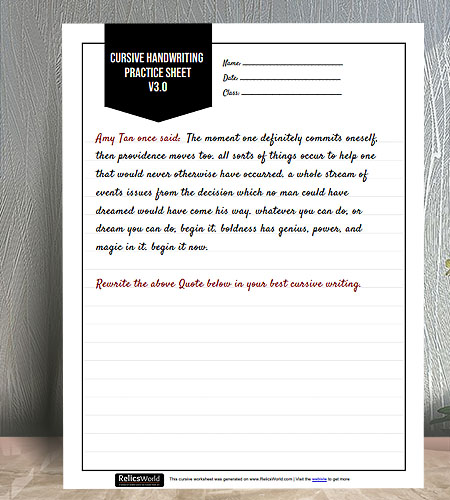 "8.5""x11"" Simple Black & White Printable Cursive Writing Practice worksheet"