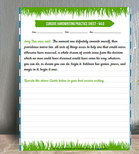 "8.5""x11"" Handwriting Practice worksheet with colorful grass borders"