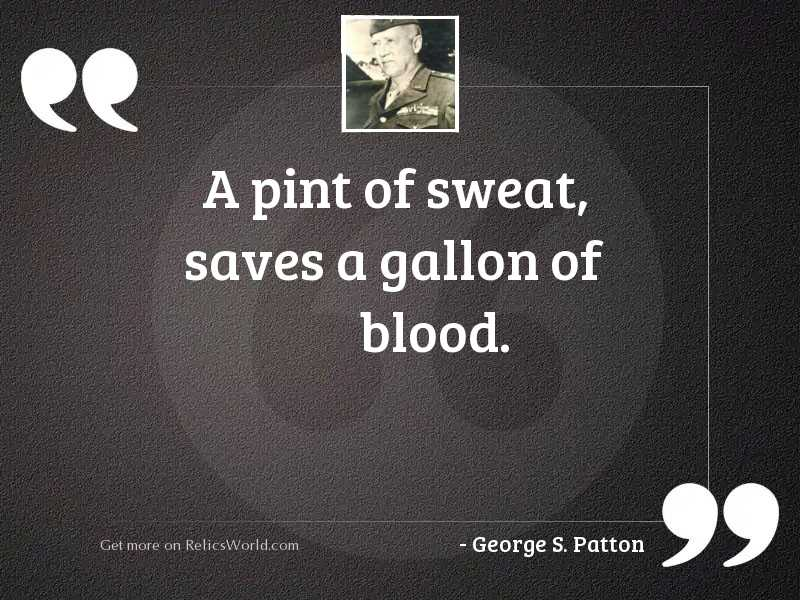 A pint of sweat, saves
