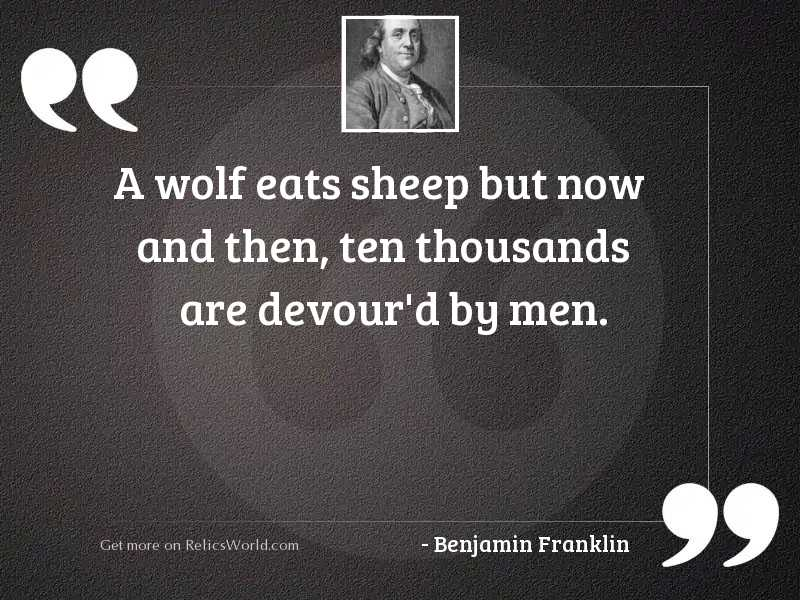 A wolf eats sheep but