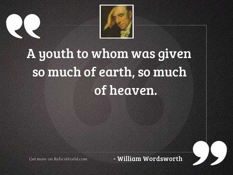 A youth to whom was