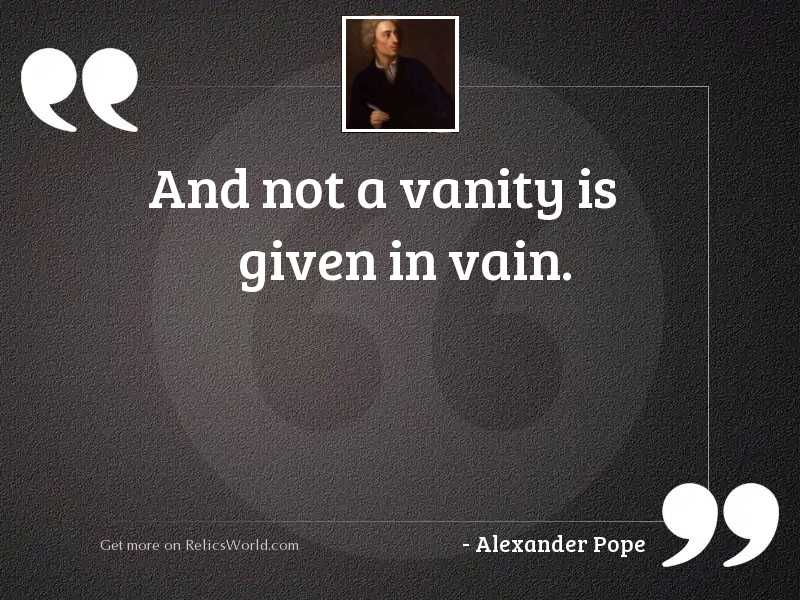 And not a vanity is