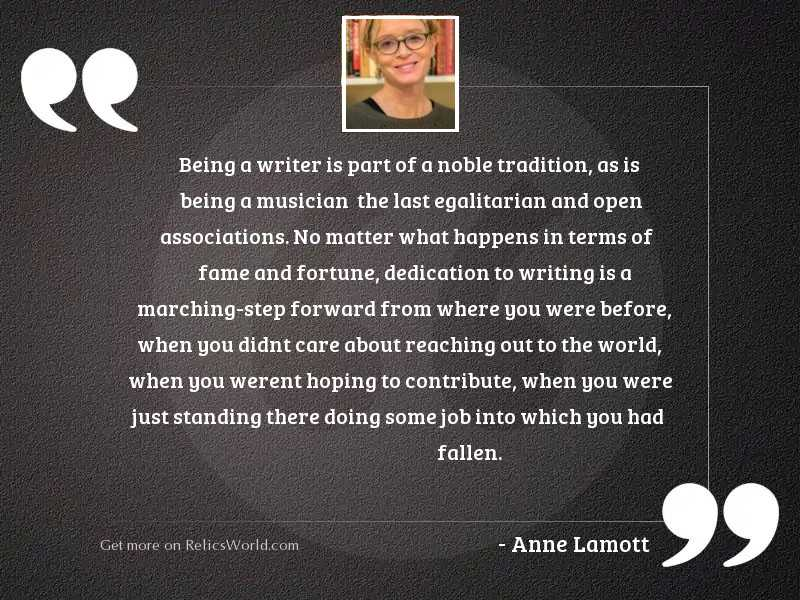 Being a writer is part