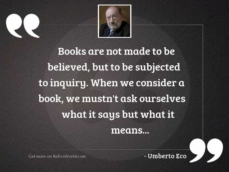 Books are not made to