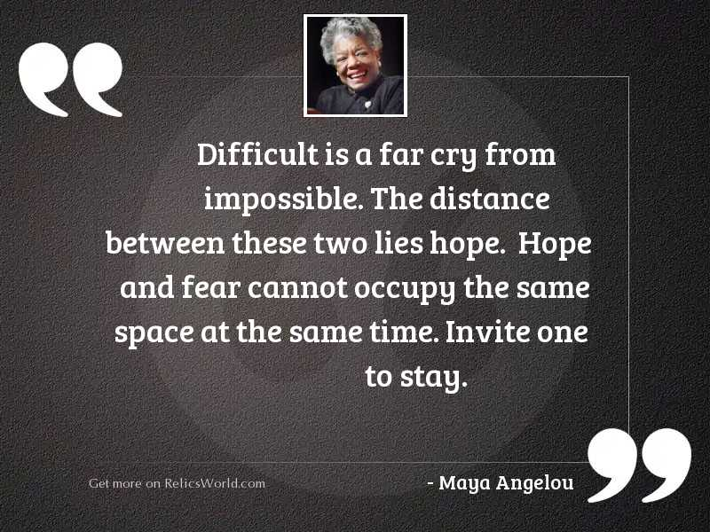 Difficult Is A Far Cry Inspirational Quote By Maya Angelou