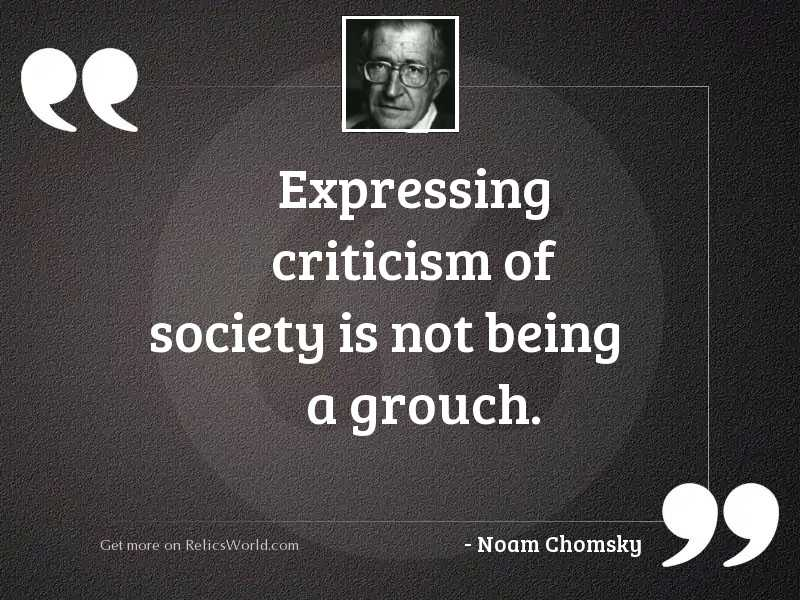 Expressing criticism of society is