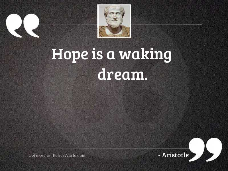 Hope is a waking dream.