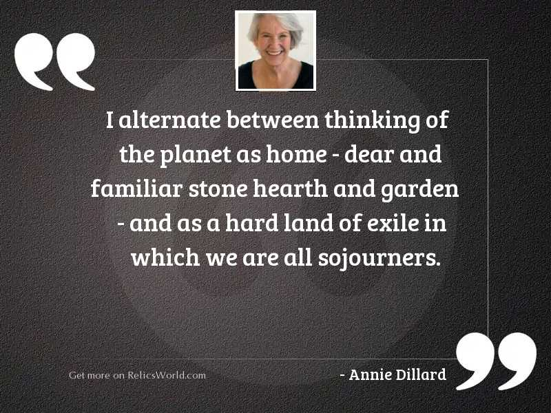I Alternate Between Thinking Of Inspirational Quote By Annie Dillard