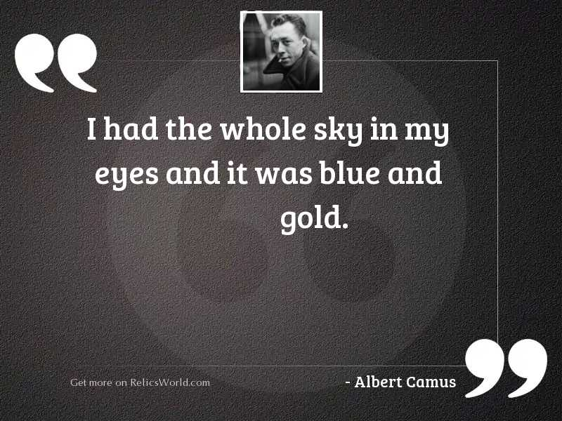 i had the whole sky inspirational quote by albert camus