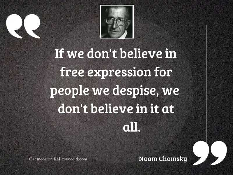 If we don't believe