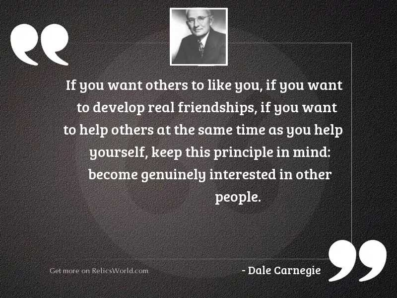 If you want others to