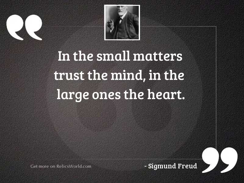 In the small matters trust