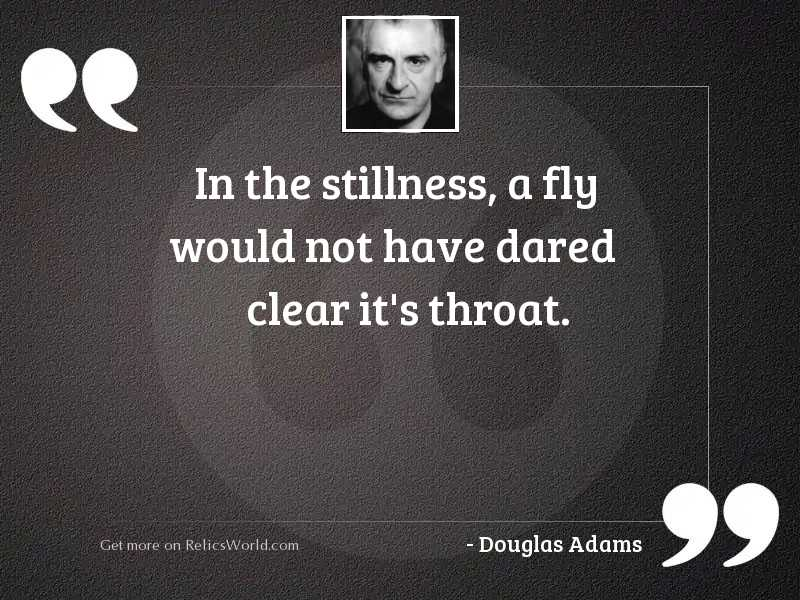 In the stillness a fly