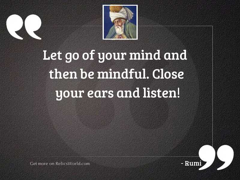 Let go of your mind