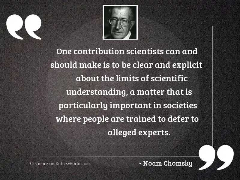 One contribution scientists can and