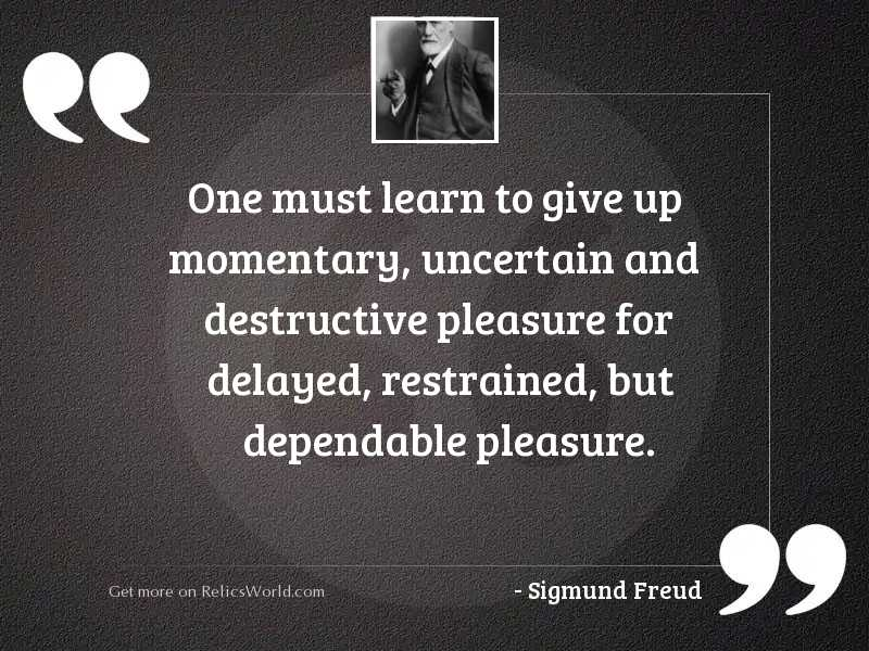 One must learn to give
