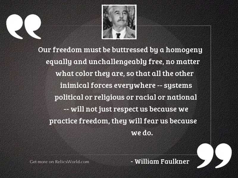 Our freedom must be buttressed