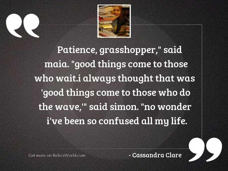 Patience, grasshopper,  said Maia.  Good