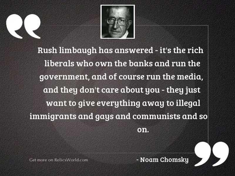 Rush Limbaugh has answered   it'