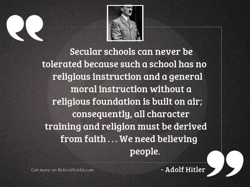 Secular schools can never be