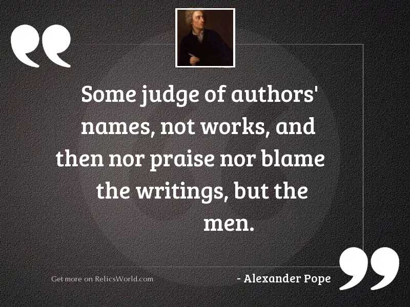 Some judge of authors' names,