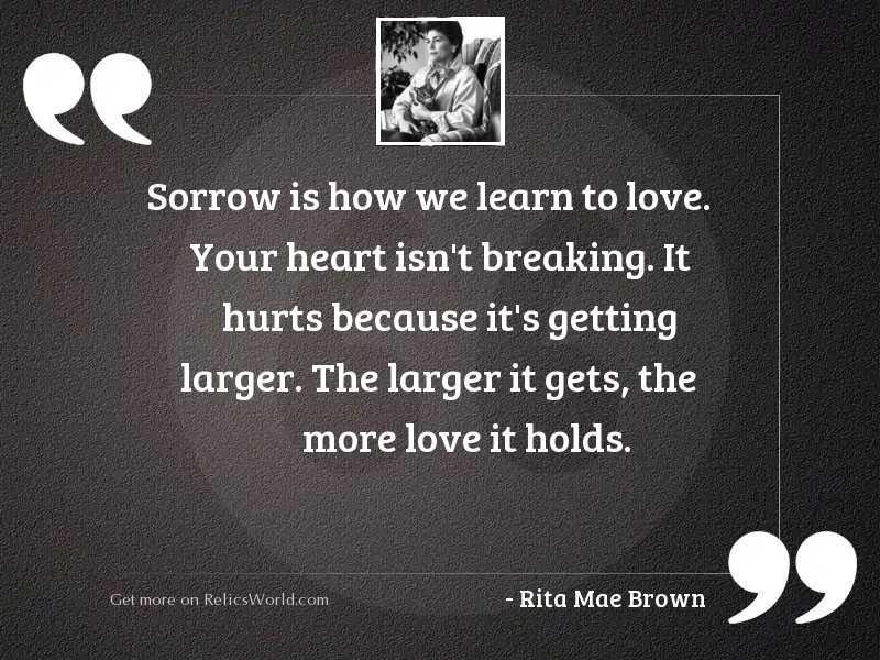 Sorrow is how we learn