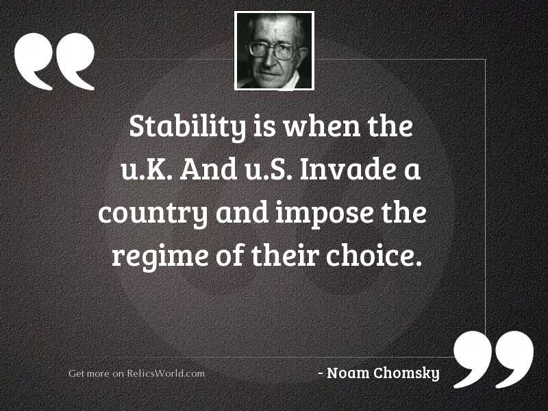 Stability is when the U.