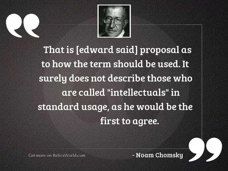 That is [Edward Said] proposal