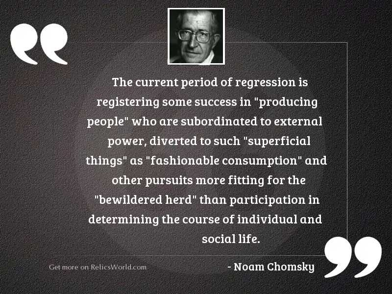 The current period of regression