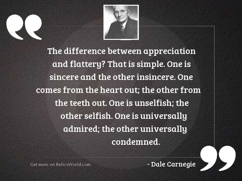 The difference between appreciation and