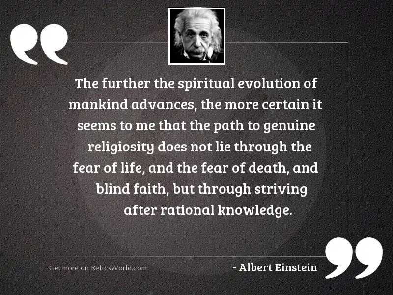 the further the spiritual evolution inspirational quote by