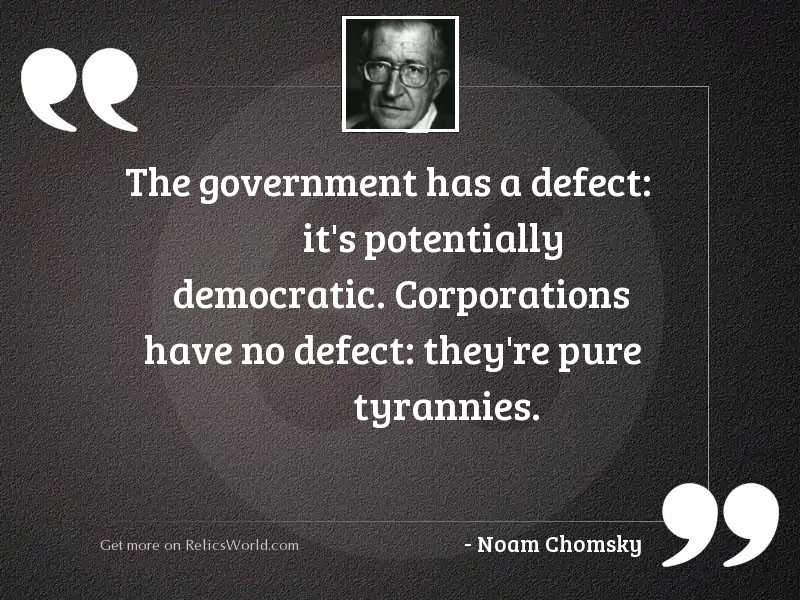 The government has a defect: