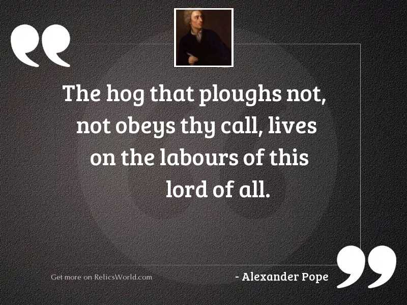 The hog that ploughs not,