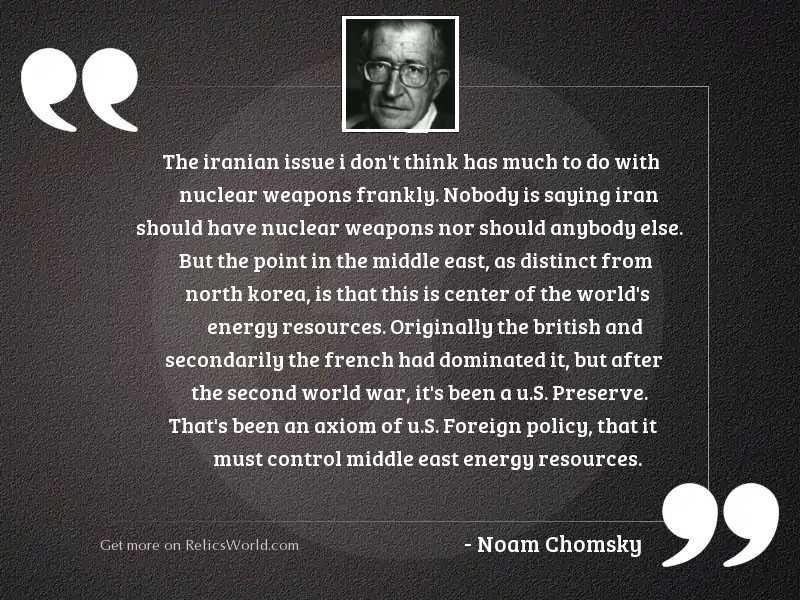 The Iranian issue I don'