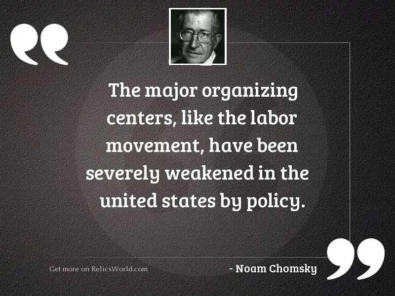 The major organizing centers, like